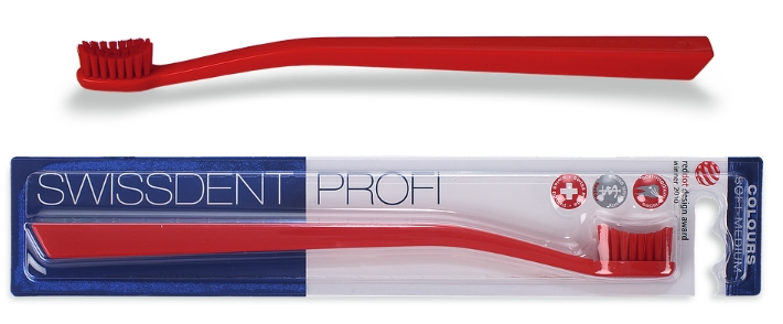 Swissdent fogkefe Colours Red&Red (piros-piros) Soft-Medium sörte